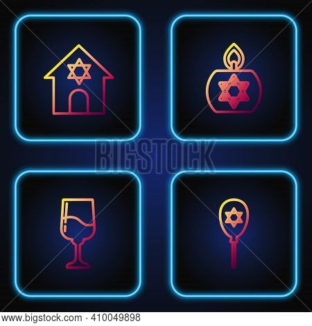 Set Line Balloon With Star Of David, Jewish Goblet, Synagogue And Burning Candle. Gradient Color Ico