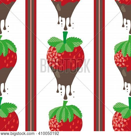 Chocolate Dipped Strawberry Striped Seamless Vector Pattern Background. Painterly Red Berries Drippi