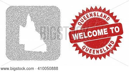Vector Collage Australian Queensland Map Of Straight Arrows And Rubber Welcome Badge. Mosaic Geograp