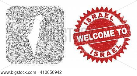 Vector Collage Israel Map Of Straight Arrows And Rubber Welcome Stamp. Collage Geographic Israel Map