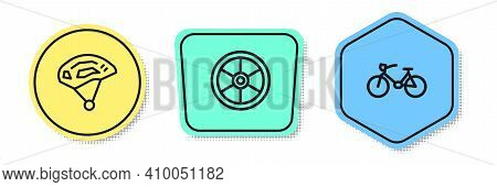 Set Line Bicycle Helmet, Wheel And . Colored Shapes. Vector
