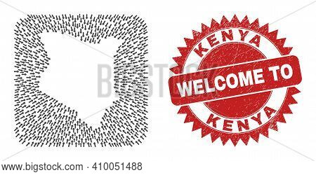 Vector Collage Kenya Map Of Pointer Arrows And Grunge Welcome Seal Stamp. Collage Geographic Kenya M