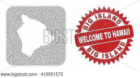 Vector Mosaic Hawaii Big Island Map Of Straight Arrows And Rubber Welcome Badge. Mosaic Geographic H