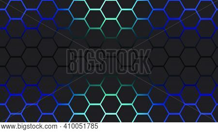 Black Hexagons With Blue Ligh Abstract Backround