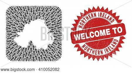 Vector Collage Northern Ireland Map Of Motion Arrows And Grunge Welcome Seal Stamp. Collage Geograph