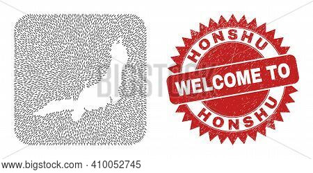 Vector Mosaic Honshu Island Map Of Navigation Arrows And Rubber Welcome Seal Stamp. Collage Geograph