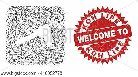 Vector Mosaic Koh Lipe Map Of Motion Arrows And Rubber Welcome Stamp. Mosaic Geographic Koh Lipe Map