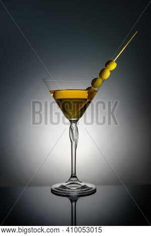 Glass Of Classical Martini And Olives, Martini And Vodka, Advertising Photography, White Background