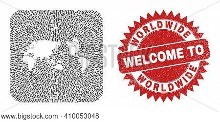 Vector Collage Worldwide Map Of Pointer Arrows And Rubber Welcome Seal. Collage Geographic Worldwide