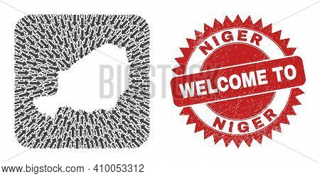 Vector Collage Niger Map Of Delivery Arrows And Rubber Welcome Seal Stamp. Collage Geographic Niger