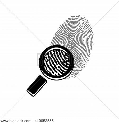 Black And White Finger Print Isolated On White Background With Search Loupe