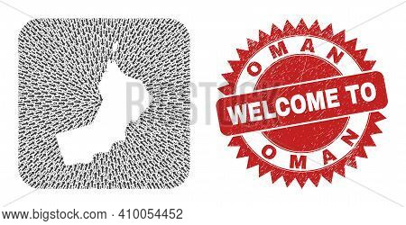 Vector Mosaic Oman Map Of Delivery Arrows And Rubber Welcome Stamp. Collage Geographic Oman Map Desi