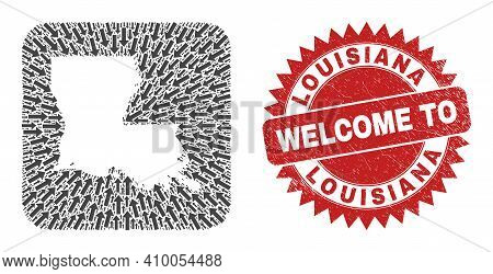 Vector Mosaic Louisiana State Map Of Pointer Arrows And Scratched Welcome Stamp. Mosaic Geographic L