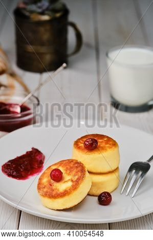 Fried Curd Pancakes - Cheese Pancakes On A Plate. Healthy Breakfast Cheese Pancakes Traditional Brea