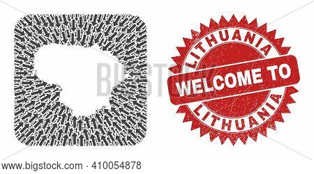 Vector Collage Lithuania Map Of Delivery Arrows And Grunge Welcome Seal. Collage Geographic Lithuani