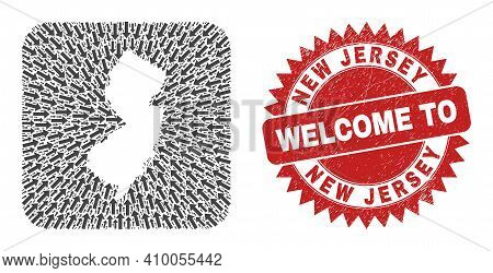 Vector Collage New Jersey State Map Of Pointer Arrows And Scratched Welcome Seal. Collage Geographic