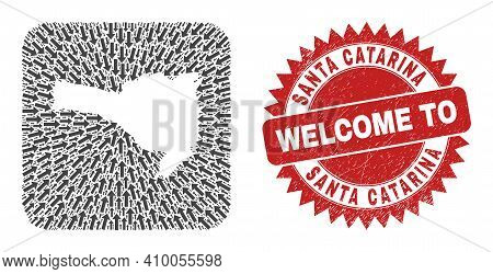 Vector Collage Santa Catarina State Map Of Motion Arrows And Grunge Welcome Seal Stamp. Collage Geog