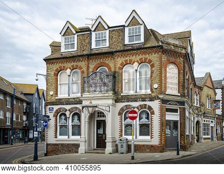 Whitsable, Kent, Uk, February 2021 - The Duke Of Cumberland Public House  And Hotel At The Junction