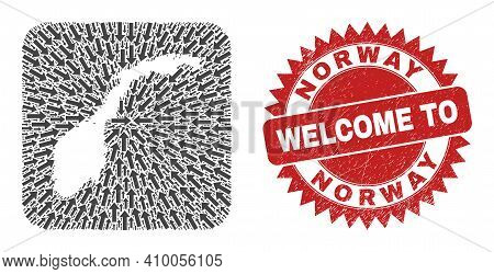 Vector Collage Norway Map Of Movement Arrows And Grunge Welcome Stamp. Collage Geographic Norway Map