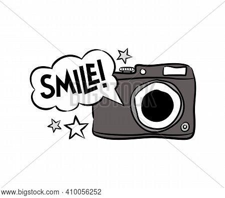 Hand Drawn Comic Camera Isolated On White Background. Cartoon Photo, Stars And Speech Bubbles. Sloga