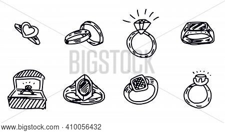 Wedding And Men Rings Simple Drawing. Doodle Sketch Illustration
