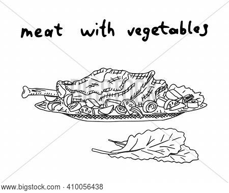 Chicken Leg With Potatoes And Vegetables. Doodle Sketch Illustration