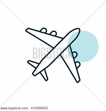 Airplane Or Plane Flat Vector Icon. Graph Symbol For Travel And Tourism Web Site And Apps Design, Lo