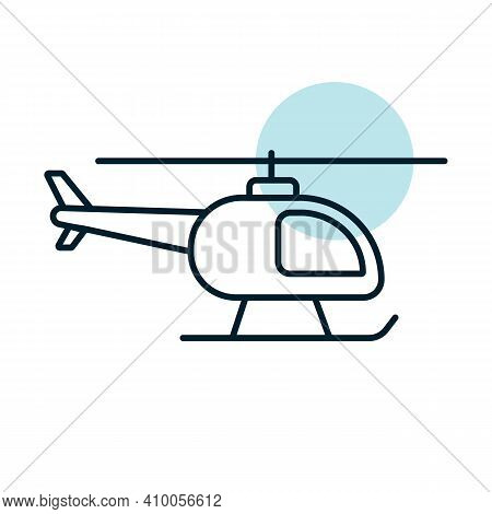 Helicopter Flat Vector Icon. Graph Symbol For Travel And Tourism Web Site And Apps Design, Logo, App