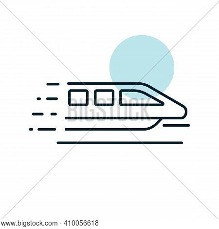 Monorail Speed Modern Train Flat Vector Icon. Graph Symbol For Travel And Tourism Web Site And Apps