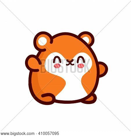 Cute Funny Hamster. Vector Flat Line Cartoon Kawaii Character Illustration Icon. Isolated On White B