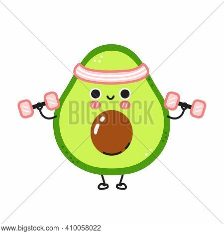 Cute Funny Avocado Make Gym With Dumbbells. Vector Flat Line Cartoon Kawaii Character Illustration I