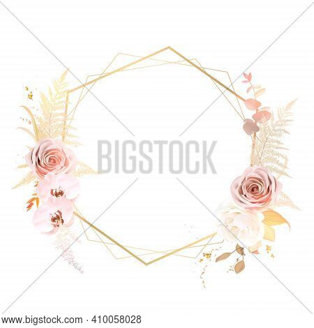 Trendy Dried Fern Leaves, Blush Pink Rose, Pale Orchid, White Ranunculus, Pampas Grass Vector Weddin