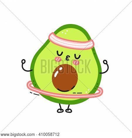 Cute Funny Avocado Make Gym With Hula Hoop. Vector Flat Line Cartoon Kawaii Character Illustration I