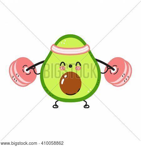 Cute Funny Avocado Make Gym With Barbell. Vector Flat Line Cartoon Kawaii Character Illustration Ico