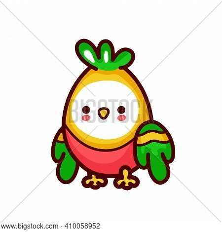 Cute Funny Parrot. Vector Flat Line Cartoon Kawaii Character Illustration Icon. Isolated On White Ba