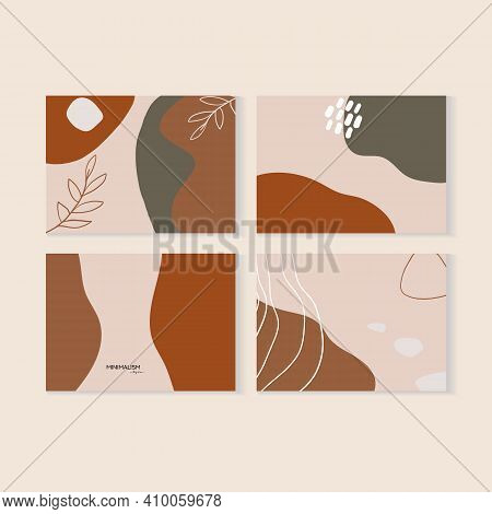 Botanical Abstract Art Vector Set Of Cards. Foliage Line Art Drawing With Abstract Shape. Abstract P
