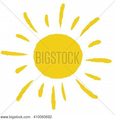 Hand-drawn Sun. Element Of Summer And Nature. Yellow Warm Object. Heat And Hot. Cartoon Illustration