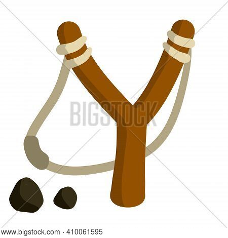 Slingshot. Wooden Catapult. Children Toy For Throwing Stones. Shooting And Small Rock. Flat Cartoon