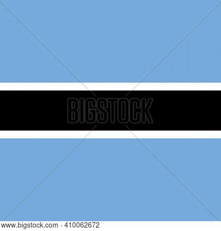 Square Botswana National Flag, Blue, White, Black