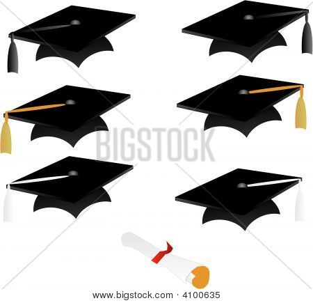 Graduation Caps And Diploma