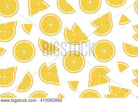 Ripe Piece And Slice Orange Background. Fresh Sour Citrus Fruit Orange Seamless Pattern. Vector Illu