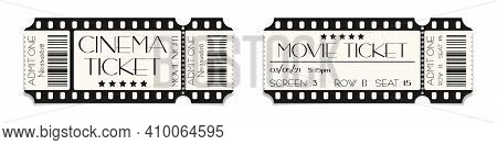 Cinema Ticket Template Mockup With Barcode. Vector Illustration Of Realistic Show Admission In Retro