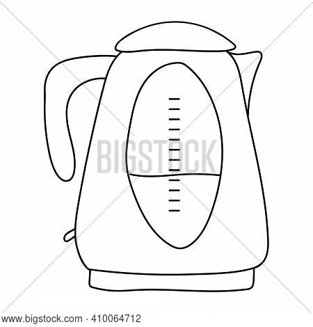 Electric Kettle, Household Appliance On A White Background. Shiny Tea Kettle For Boiling Water. Vect