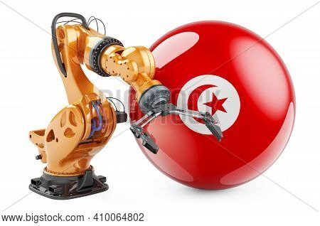 Robotic Arm With Tunisian Flag. Modern Technology, Industry And Production In Tunisia Concept, 3d Re
