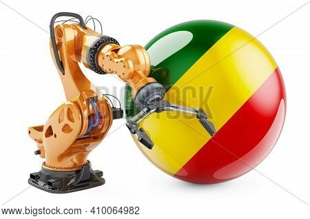 Robotic Arm With Congo Flag. Modern Technology, Industry And Production In Congo Concept, 3d Renderi