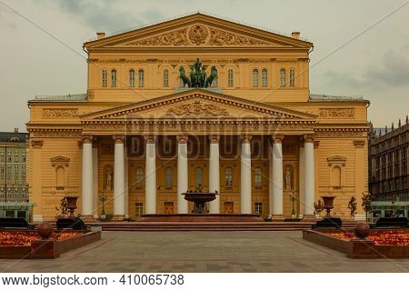 The Building Of The Bolshoi Theater On Theater Square In Moscow