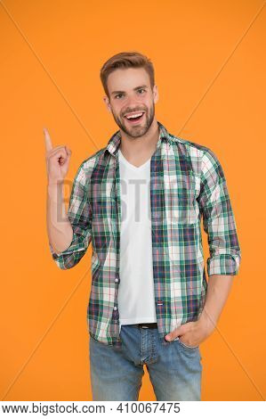 Great Idea. Inspired Student Yellow Background. Make You Look Good. Casual Fashion For Men. Masculin