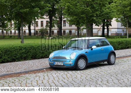 Dresden, Germany - May 10, 2018: Small Blue Mini Cooper City Car Parked In Germany. There Were 45.8