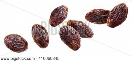 Dried Jumbo Dates Isolated On White Background With Clipping Path