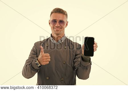 New Version. Solution For Business. Download Update. Software Update. Guy Smartphone User. Guy Shows